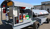 The right side of the HandiFueler Ground Support Fuel Service Cart (AGE Refueler) showing the fluid stowage area and tire service station.