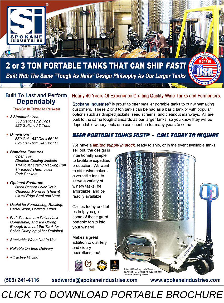 Portable Wine Tanks by Spokane Industries