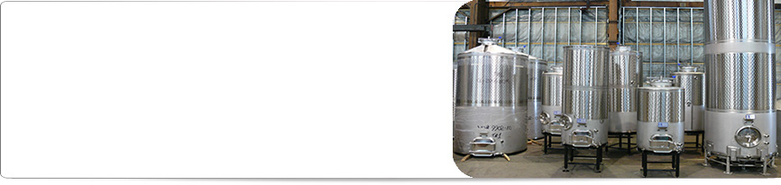 A collection of Spokane Industries custom stainless steel wine tanks